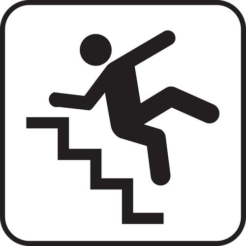 illustration of someone falling down stairs preventing falls seniors
